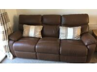 Immaculate Brown Leather electric recliner 3 seater sofa and a chair