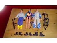 3 x Action Men and various accessories