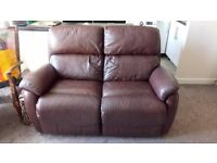 Brown leather electric recliner two seater sofa
