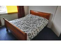 King size solid wood bed and mattress