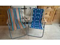 TWO TUBULAR FOLDING CAMPING CHAIRS