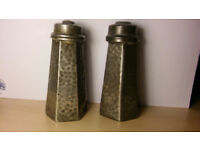 Hexagonal english pewter salt and pepper sellers