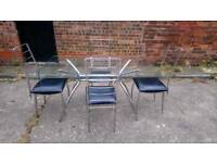SILVER METAL & GLASS DINING TABLE AND 4 CHAIRS FREE LOCAL DELIVERY