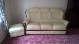 As new Leather 3 seater sofa, arm chair and pouffe.