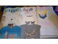 Immaculate Selection of 13 beautiful girls summer tops & vests, age 8-9 years