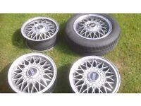 "bbs rj 4x100 alloy wheels 14"" vw, bmw, mk1"