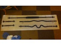 Selling 3 barbells + 2 dumbells + dipping belt. ( cast iron plates on differant ad )