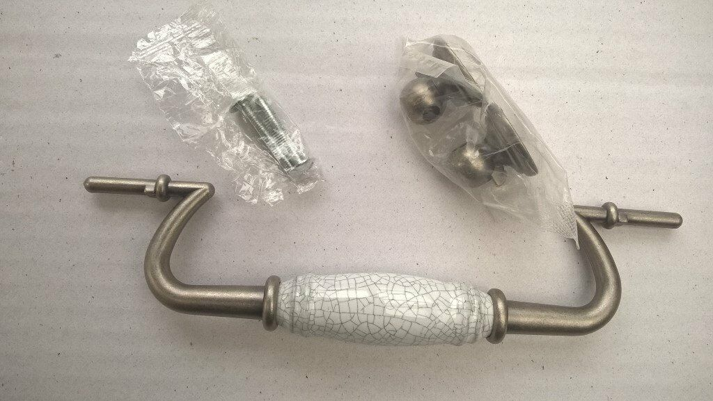 Vintage look Kitchen Draw Handles, Pewter with Porcelain barrel x 6