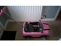 Pink Push A long Mini Cooper, Outdoor Toy, Childs car