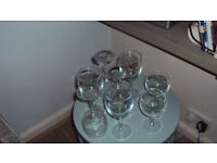 Wine glasses, a set of 6, vg condition, and 2 smaller glasses
