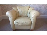 Large leather sofa chair. .Cream
