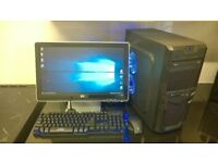 custom built windows10 xeon 3ghz quad core ddr3 gaming pc computer gtx 550ti SSD wifi led hd monitor