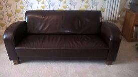 Dark Brown 3 Seater Leather Sofa - £100