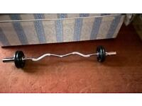 Olympic Ez Curl Bar With Collars & Bodymax Olympic Weights