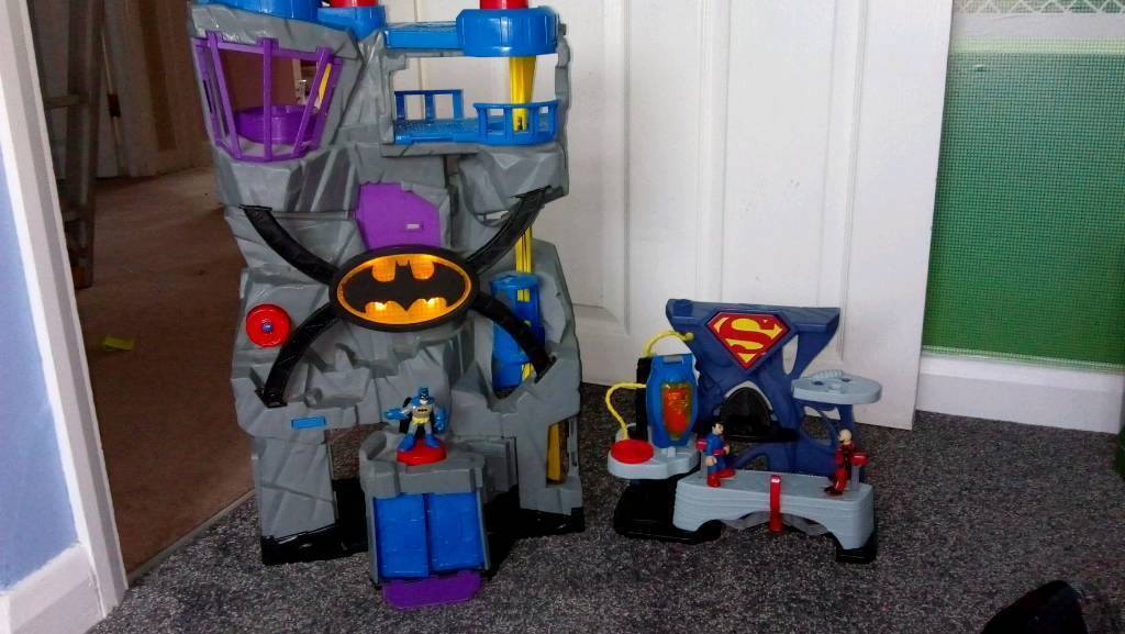 imaginext batman cave and superman base with figures in wickford