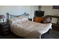 Double room for rent with sofa and TV in room. Quiet area.