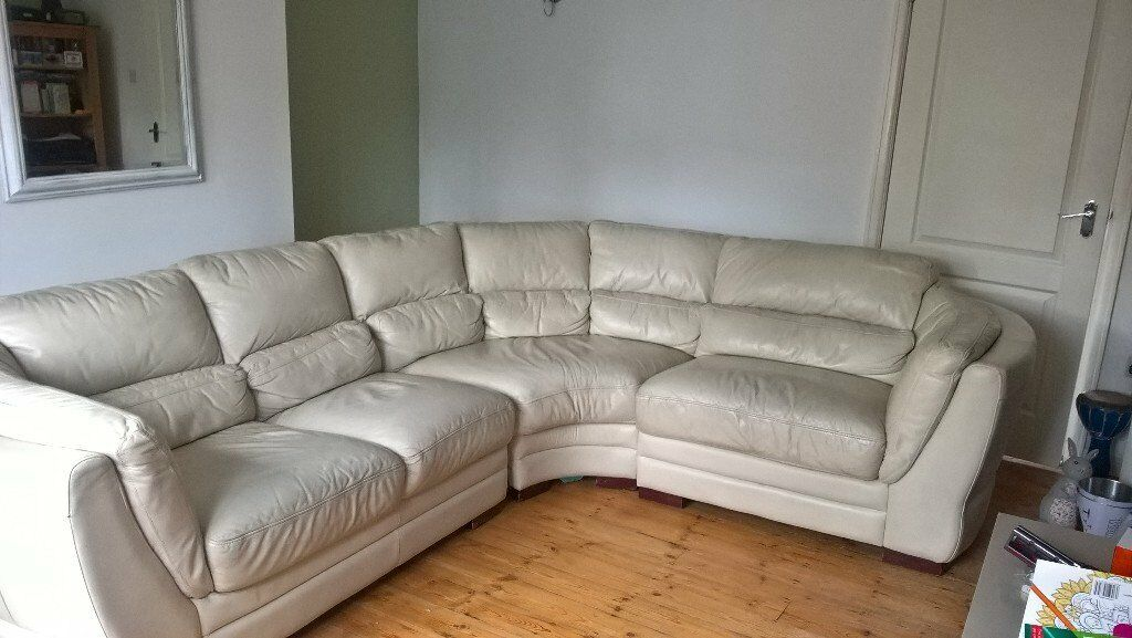 4 Seater L Shape Cream Sofa Real Leather In Horsforth