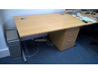 Desk & drawers in light oak finish. Price is for both, but can sell separately, 2 more desks availbl