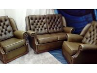 Leather Chesterfield armchairs and sofa, vintage.