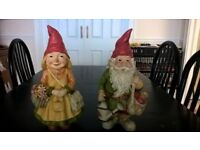 Set of his and her Garden Gnomes