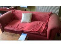 Raspberry cotton 3 seater sofa