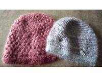 Hand crocheted ladies/girls hats. Set of 2.