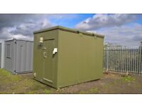 SHIPPING CONTAINER - 12'X8'X9' MAN CAVE - STEEL - LINED - INSULATED - ELECTRICS - PORTABLE CABIN