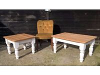 Pair of Solid Pine Country Farmhouse Coffee & Side Table ~ Shabby Chic Chalk White *FREE DELIVERY*