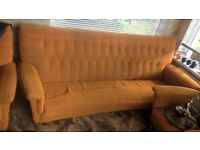 1950/1960 Mid Century Sofa And Two Matching Chairs.