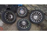 wolfrace multi fit alloy wheels with tyres