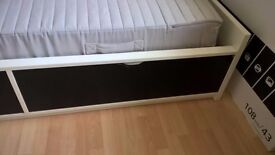 Single storage bed for sale, black and white, 2 large drawers underneath, suit child or teenager.
