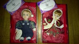 collectable porcelain dolls, Regency fine arts, Christmas style,Christopher and Nicola