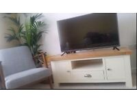 Cream and wood TV unit / stand - perfect condition £200