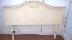 NEXT cream shabby chic headboard to fit Kingsize divan bed.