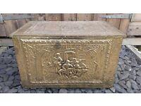 Large Vintage Brass Fireside Box