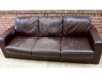 Free to collect. Large 3 seater brown leather look sofa. Worn but whole. Ideal for student house.