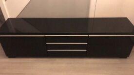 Black Ikea high gloss tv unit