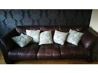 3 seater large leather sofa plus cushions