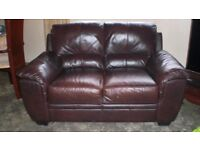 Two Seater Leather Sofa in Burnished Brown very good condition