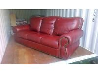 Burgundy Leather Suite (3-2-1), XXL size, very high quality, used in guest room with minimal usage.