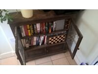 Beautiful solid wood antique walnut bookcase with leaded glass doors