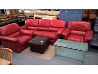red leather sofa suite