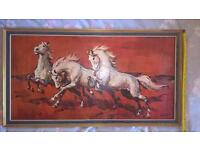 Vintage Retro Print with Boots Frame by H Faust Horses on Red Background