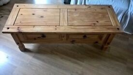 Solid Pine coffee table mexican style with two drawers