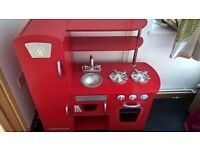 ELC red MDF play kitchen great condition plus optional freebies