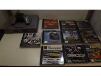 Playstation 1 console, 10 great games, 1 controller, 1 mem card all wires, 1 months warranty