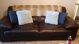 3 seater brown leather sofa and matching footstool