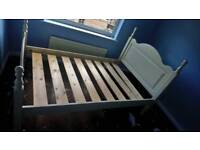 Three-quarter sized bed frame and mattress