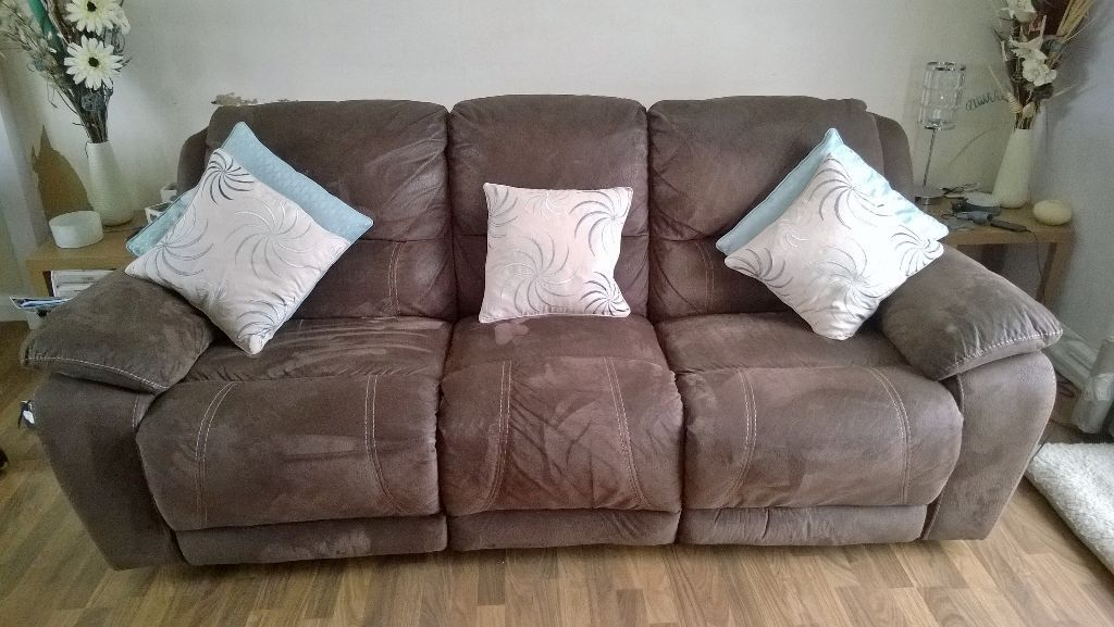 Harveys 3 seater faux suede recliner sofa and recliner rocker in braintree essex gumtree