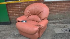 Electric recliner armchair leather